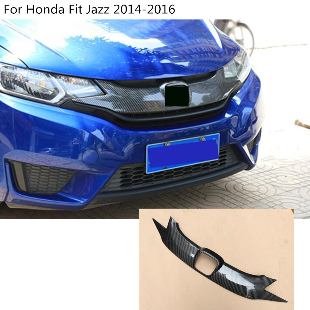 car protect detector Carbon Fibre trim Front up head Grid Grill Grille panel molding part 2pcs For Honda Fit Jazz 2014 2015 2016 for toyota corolla altis 2014 2015 2016 car body styling cover detector abs chrome trim front up grid grill grille hoods 1pcs