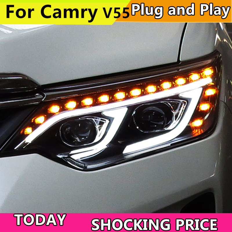 Car Styling for Toyota Camry V55 LED Headlight 2015-2017 YEAR New Camry Headlights drl Lens Double Beam H7 HID Xenon