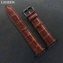 LIOSEN Apple Watch Black Brown Watchbands Genuine Leather Strap