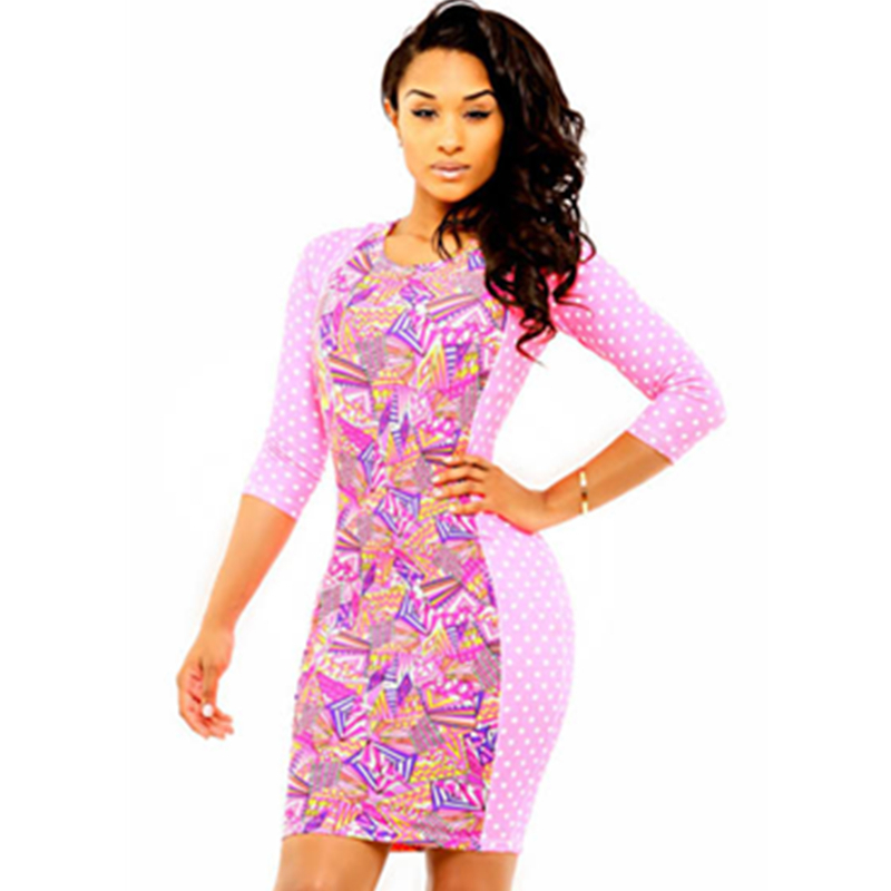 Latest Summer Sexy Young Lady Fashion Pink Printed Ladies Bodycon Dress Ladies Dresses Casual