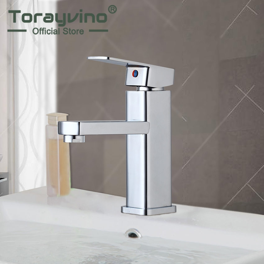 Torayvino Bathroom Faucet Contemporary Chrome Finish Deck Mounted Faucets Single Hole Bathroom Single Handle Faucet  Tap