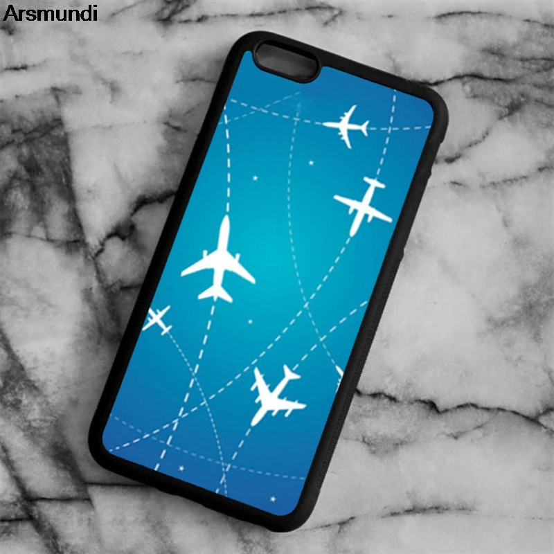 Arsmundi Airplane Routes Stars Phone Cases for iPhone 4S 5C 5S 6 6S 7 8 Plus X for Samsung S8 Note Case Soft TPU Rubber Silicone