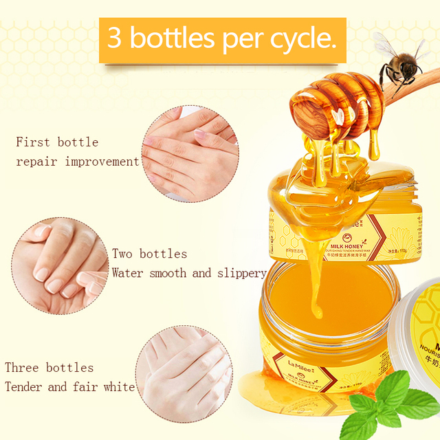 LAMILEE Milk Honey Hand Mask Hand Wax Moisturizing Whitening Skin Care Exfoliating Calluses Hand Film Hands Care Cream 110g 3