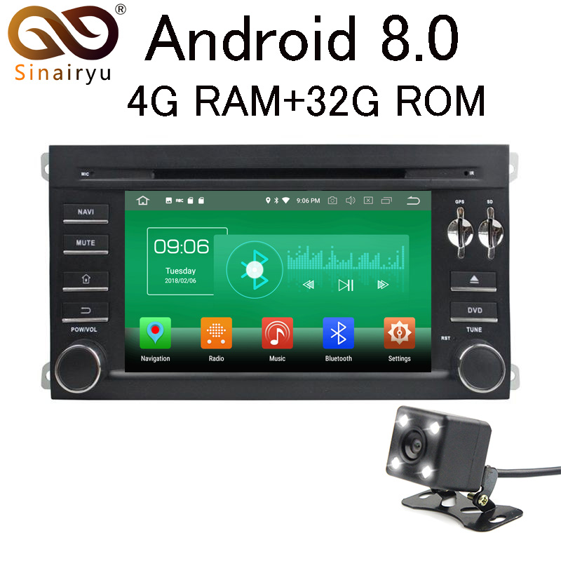 Sinairyu 4 г Оперативная память Android 8.0 автомобильный DVD для Porsche Cayenne 2003 2004 2005 2006-2010 CRV 32 г радио GPS мультимедийный плеер головное устройство