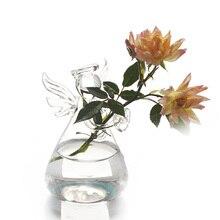 Promoo de vase wedding decoration disconto promocional em hot bonito anjo forma suporte de suspenso da planta da flor vaso de vidro recipiente hidropnico escritrio decorao do casame junglespirit Choice Image