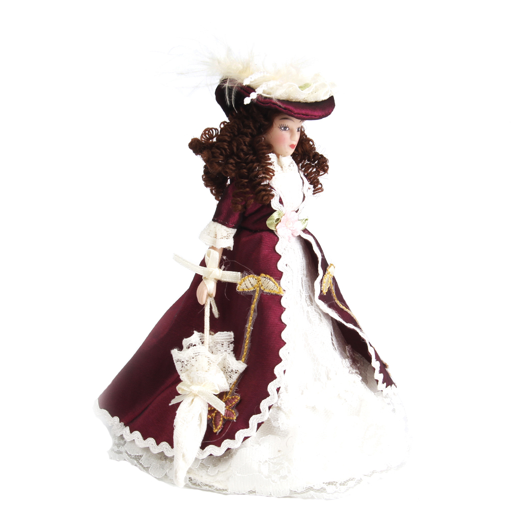 Porcelain Dolls Classical Beauty Lady W.Hat For 1:12 Dollhouse Miniature