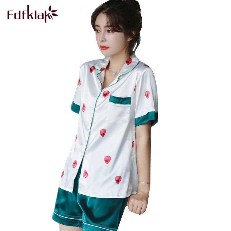 Fdfklak 2018 New pajamas women short sleeve cute print silk pajama set students sleepwear pijama home clothes pyjamas women