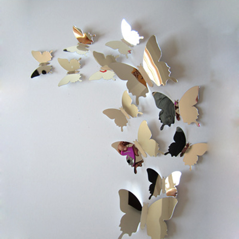 12x Mirror Sliver 3D Butterflies Wall Stickers Party Wedding Decor Home Decoration Removable Decal Vinyl Art Mural Wall Sticker