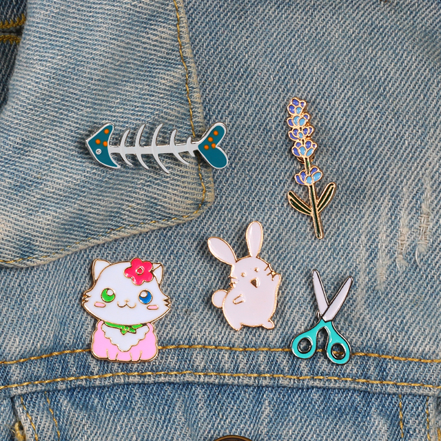Cute kids brooch Jewelry scissors fish bone rabbit Cat flower enamel pins Badges Button Lapel Pin jackets shirt  cartoon gifts