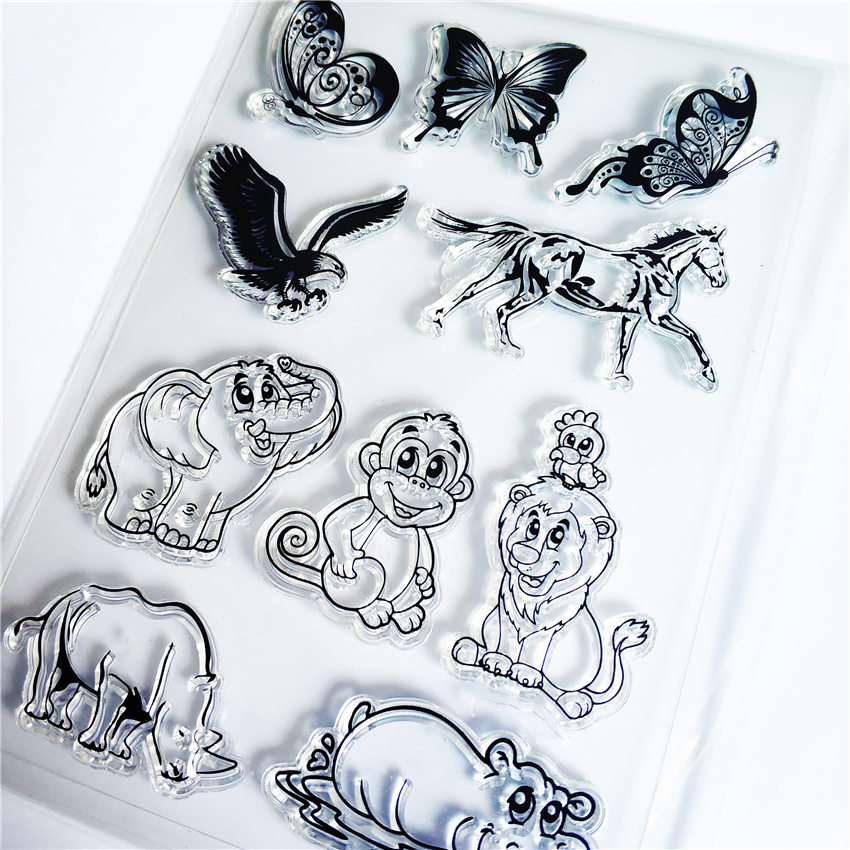 PANFELOU Elephant monkey Transparent Clear Silicone Stamp/Seal for DIY scrapbooking/photo album Decorative clear stamp sheets