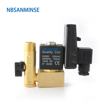 NBSANMINSE SR-D-15 G1/2 Auto Drain Brass Vent Device Big Valve Body Solenoid Valve Automatic Drainer Air Compressor Air Bottle gf600 25 port g1 semi auto drain air cleaner filter source treatment unit