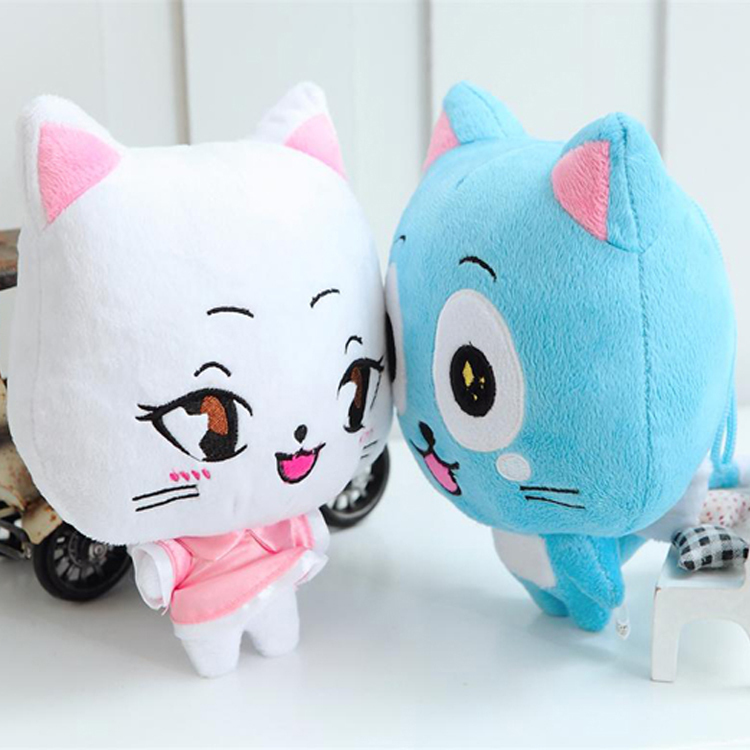 2pcs/lot 23cm Anime Fairy Tail Happy & Charles Plush Toy Kawaii Happy & Charles Cat Stuffed Toys Doll Figure Toy For Kids Gifts
