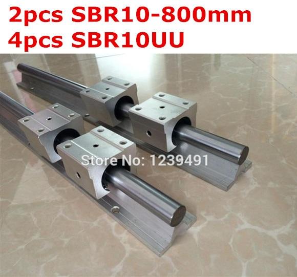 2pcs SBR10  -  800mm linear guide + 4pcs SBR10UU block 1pc sbr10 l300mm linear guide 2pcs sbr10 linear bearing block