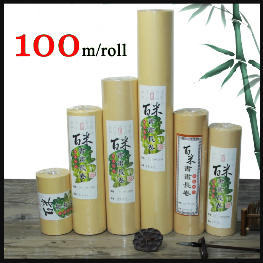 Natural colour Half-ripe rice Paper Chinese Painting Calligraphy bamboo Rice Paper Roll Xuan Paper Painting Canva Supply