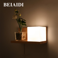 BEIAIDI Nordic Simple 5W E27 Solid Wood Wall Lamp With Pull Switch Dining Restaurant Hotel Bedside Aisle Corridor Wall Lamps