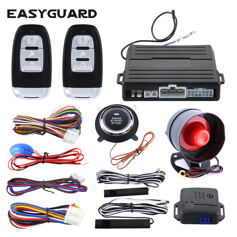 Easyguard Universal PKE car alarm system remote engine start push button start arm disarm shock alarm warning auto lock unlock smart haa flip key pke car alarm system push start remote start stop engine auto central door lock with shock sensor