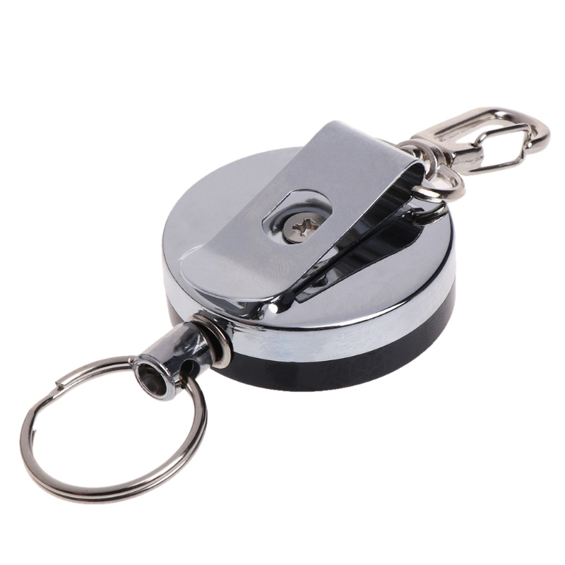 Fishing Zinger Retractor Key Ring Reel Holder Retractable Steel Cable Accessory
