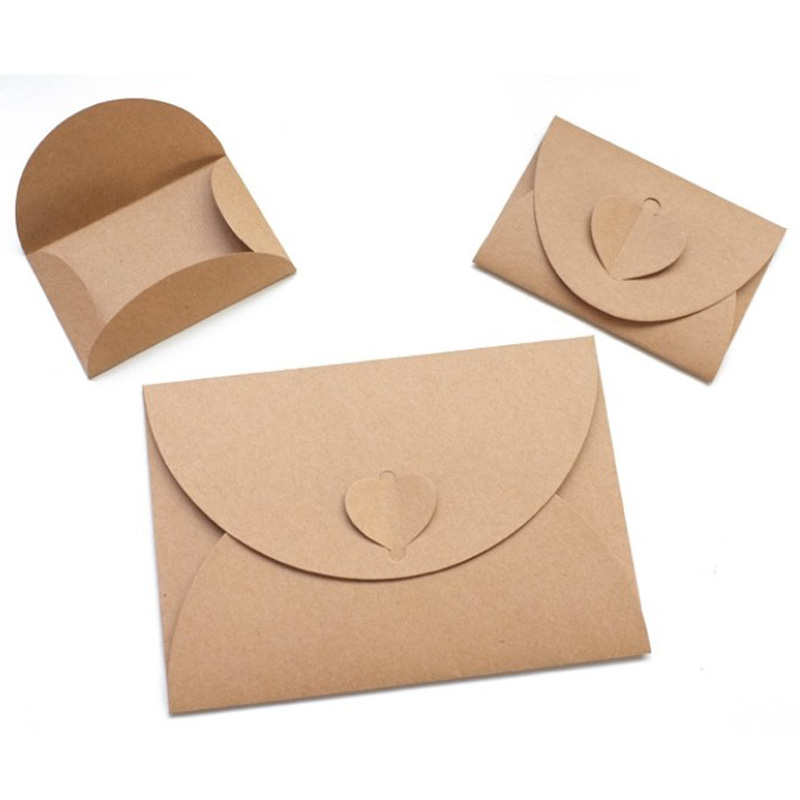 10pcs Big Small Size Heart Shape Pearlized Kraft Paper Envelopes Vintage Party Gift Paper Bag Or Wedding Invitation Card Crafts
