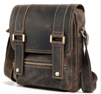 Men S Genuine Leather Leather Cool Small Vintage Style Satchel Messenger Bag For Ipad With Flip