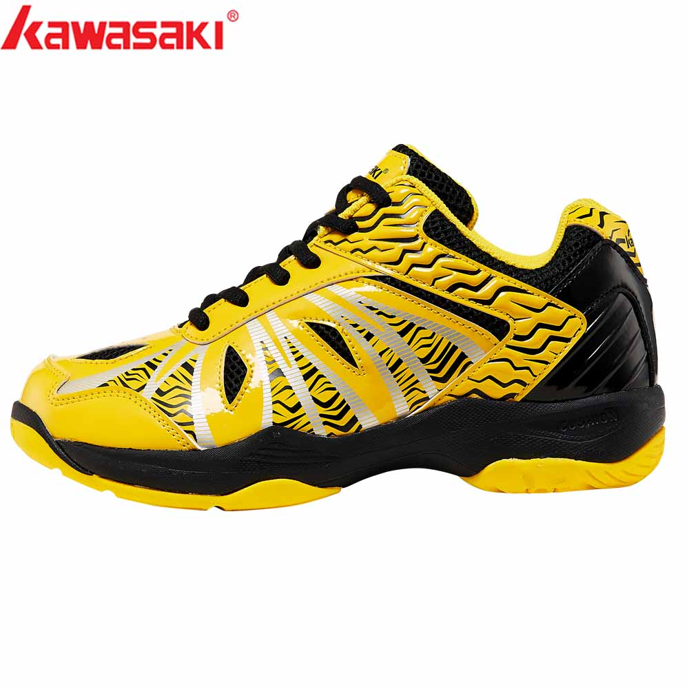 2019 KAWASAKI Professional Blue Yellow  Badminton Shoes Lace Up Sneakers Breathable Men Women  Indoor Court Sports Shoes K-076