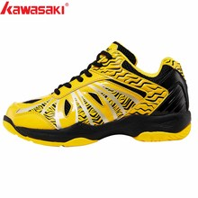 2019 KAWASAKI Professional Blue Yellow  Badminton Shoes Lace Up Sneakers Breathable Men Women  Indoor Court Sports Shoes K-076 li ning women s professional cushion badminton training shoes breathable sneakers lining double jacquard sports shoes aytm078
