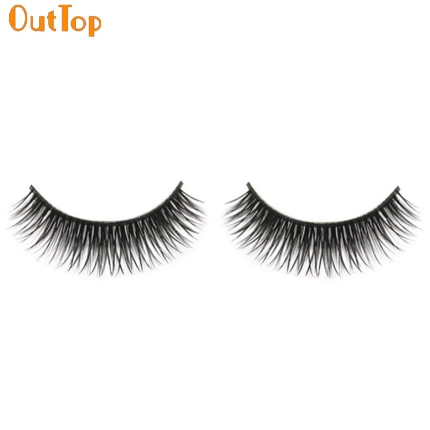 1 Pair Natural Long Beauty Dense A Pair False Eyelashes Black Fibre Eyes Lashes 161102 Drop Shipping OutTop O09HW