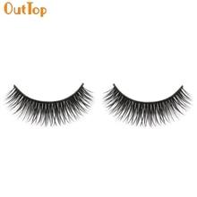 1 пара натуральная длинная красота плотная пара накладные ресницы Black Fiber Eyes Lashes 161102 Drop Shipping OutTop O09HW