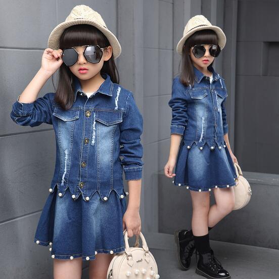 9e6efc002 2017 Autumn Baby Girls Clothing Jeans Set Suit Kids Clothes Denim Sets Fall  Toddler Tracksuit Girl Clothes Costume Cowboy 4-15T