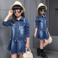 2019 Autumn Baby Girls Clothing Jeans Set Suit Kids Clothes Denim Sets Fall Toddler Tracksuit Girl Clothes Costume Cowboy 4 15T