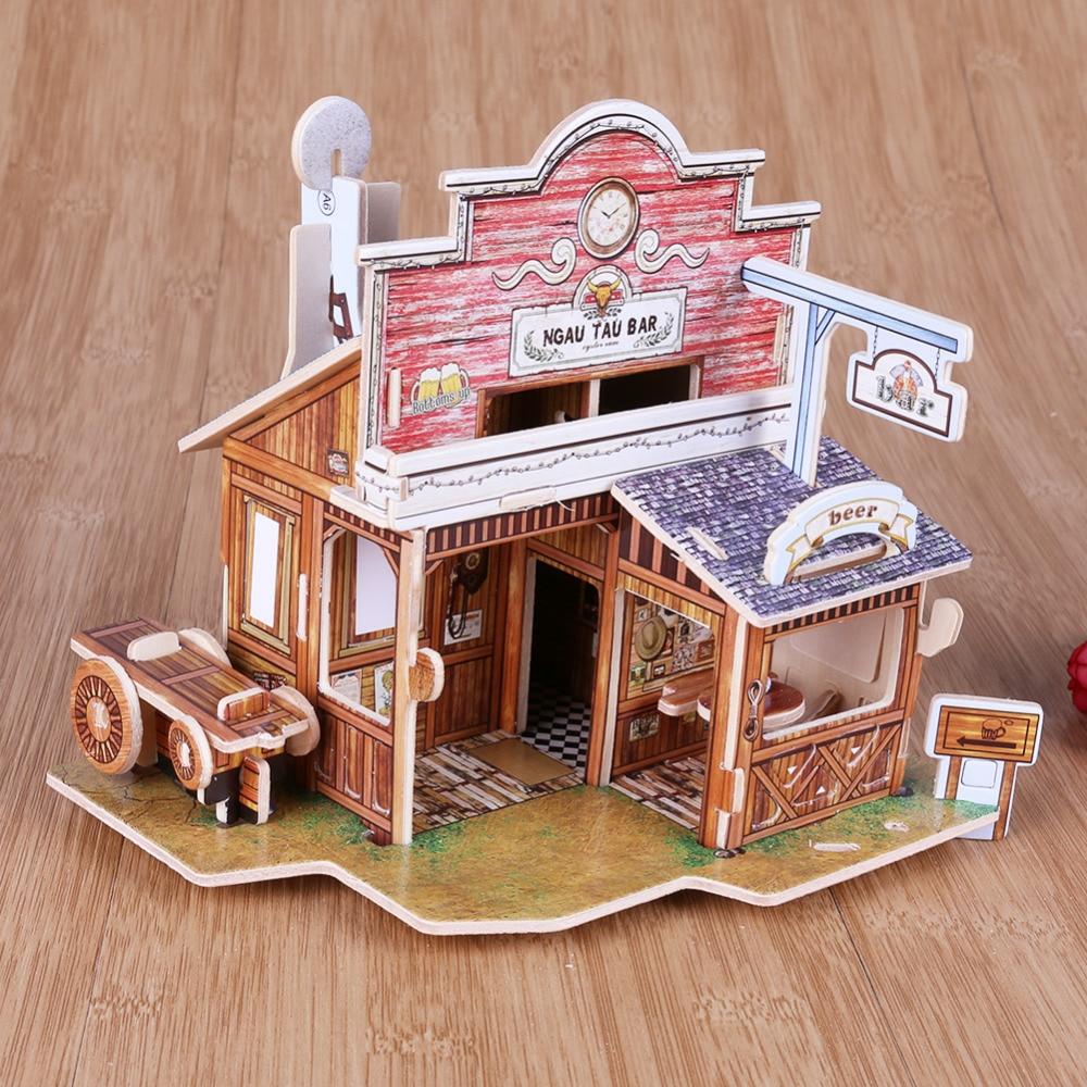 DIY Holz 3D Puzzle Haus Gebäude Puzzle Spielzeug Kinder Handgemachte ...
