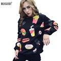 Fast Food Impresso Hoodies 2017 Das Mulheres Da Forma Do Hoodie Jersey de Algodão Camisolas Das Mulheres Feminino Casual Solta Tops Jacket Casacos