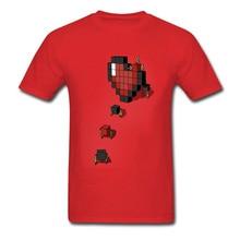 Pixel Heart T-shirt Lovers T Shirt Custom Men 3D Cartoon Tshirt Geometric Heart Movers Red Tops Cotton Tees Valentines Day Gift woodgrain heart pattern valentines day door stickers