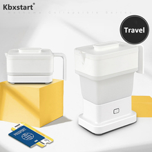 Kbxstart 100V-240V  Portable Mini Square Folding Kettle Food Grade Silicone Travel Water Collapsible Insulation