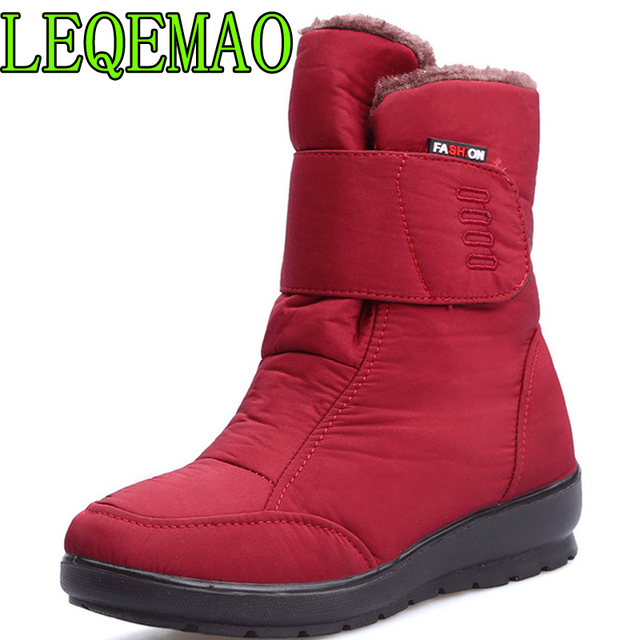 2018 The new non-slip waterproof winter boots plus cotton velvet women shoes warm light big size 41 42 snow boots