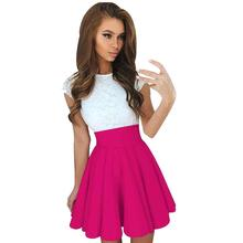Lace Party Mini Dress Ladies Summer Short Sleeve Skater Dresses Spring 2018  Fashion Woman Vestido Mujer 38097ff225cb