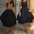 Abendkleider 2016 Sexy Black Backless Ball Gown Short Evening Dress Sleeveless Tea-Length Prom Dress Formal Dress Robe de soiree