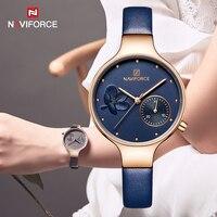 NAVIFORCE Blue Leather Watch Women Quartz Watches Ladies High Quality Waterproof Wristwatch Gift for Wife 2019 Relogio Feminino