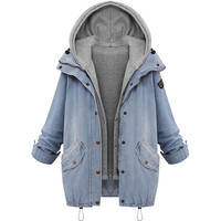Winter Women Warm Collar Hooded Coat Jacket Denim Trench Parka Outwear winter women Casual jacket female coat abrigo mujer A8