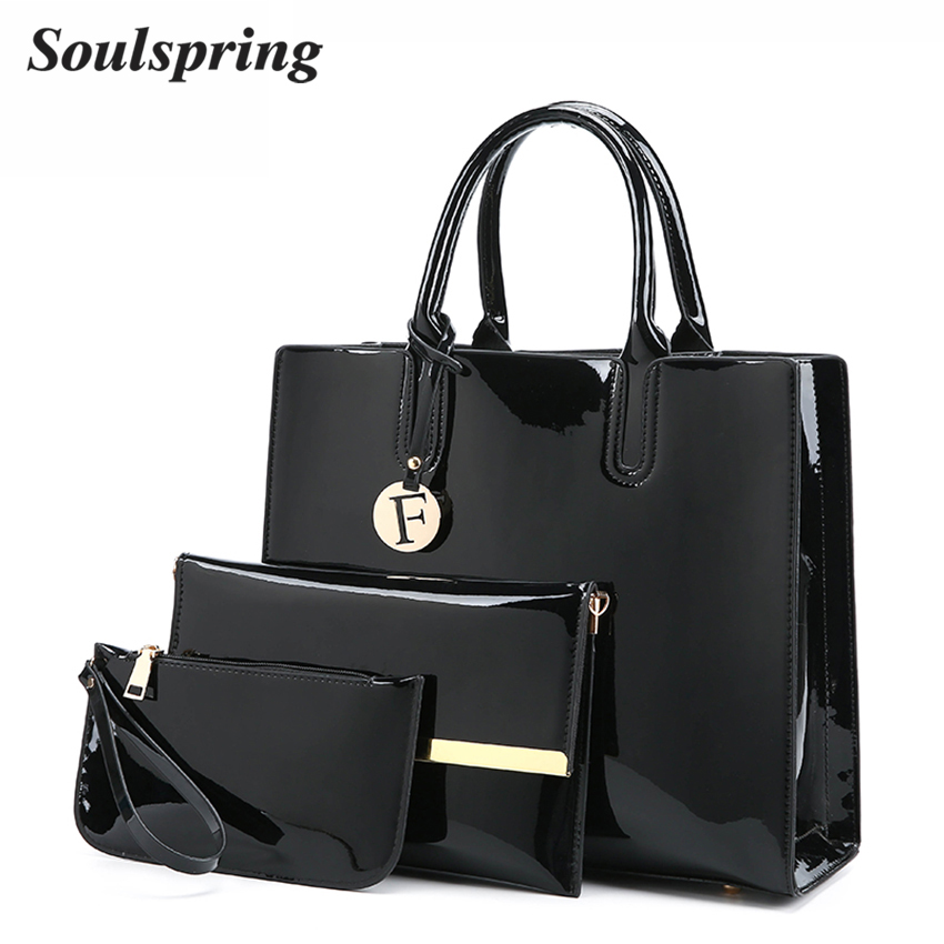 3Pcs/Set Patent Leather Bags Women Shoulder Bag Designer Handbags High Quality Letter Ladies Hand Bags Luxury Purse And Handbags feral cat women small shell bag pvc zipper single shoulder bag luxury quality ladies hand bags girls designer crossbody bag tas