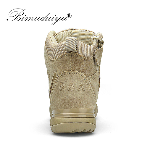 BIMUDUIYU Men Quality Brand Military Boots Tactical Desert Combat Boats Army Work Shoes Leather Antiskid Boots Men Sneakers Karachi