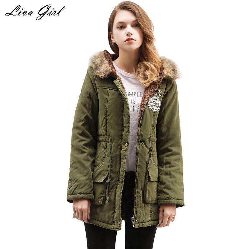 2017 zimní bunda dámská bunda dámská svrchní oděv štíhlá zimní bunda s kapucí dlouhý bavlněný polstrovaný kožešinový límec parkas plus velikost