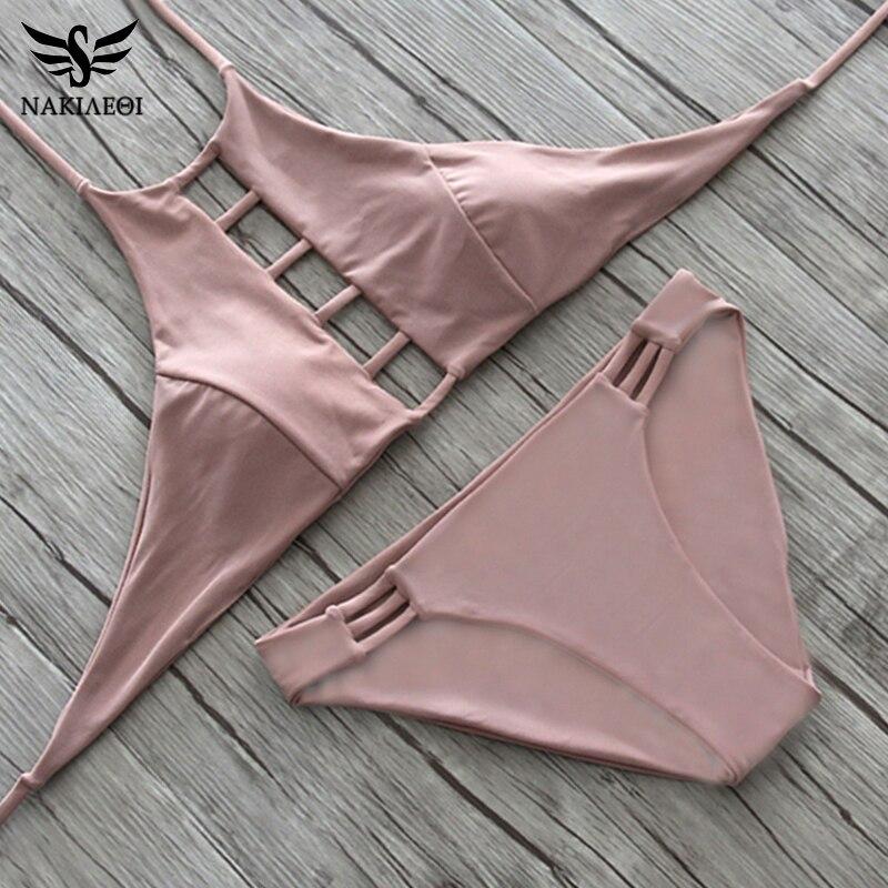 NAKIAEOI 2019 Sexy High Neck Bikini Women Swimsuit Swimwear Cut Out Retro Push Up Bikini Set Printed Summer Beach Bathing Suit 3