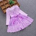 Crianças roupas de bebê 2017 primavera doce pérolas bow lace crianças vestido de princesa meninas roupas de festa bebê girls dress 3-7A 2 cor