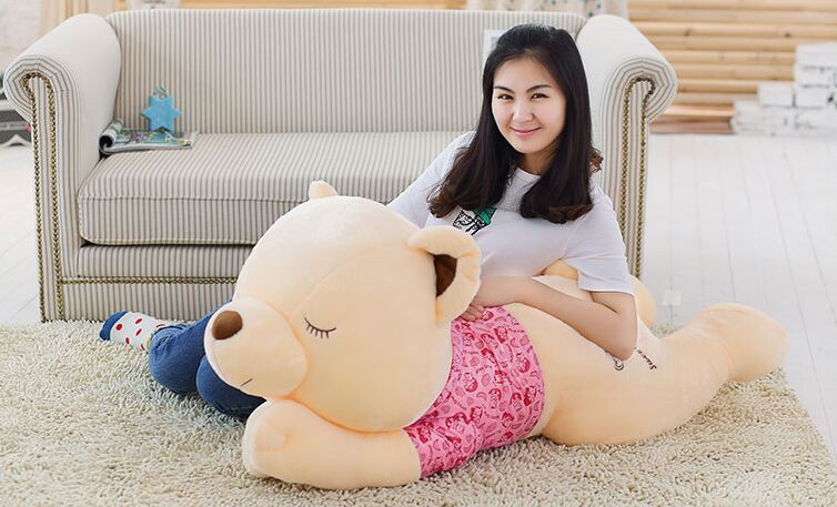 Stuffed animal Teddy bear with pink cloth lying teddy bear sleeping bear about 43 inch plush toy 110 cm throw pillow doll w6788 цена и фото