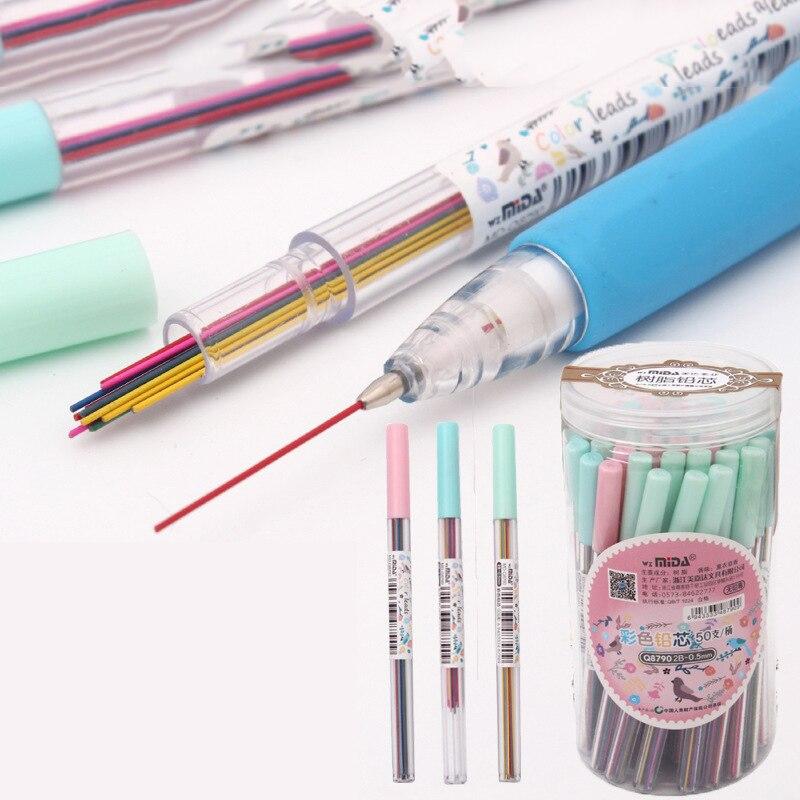 15Pcs/box 0.5 /0.7 Mm Colorful Mechanical Pencil Lead Art Sketch Drawing Color Lead School Office Supplies New Sale