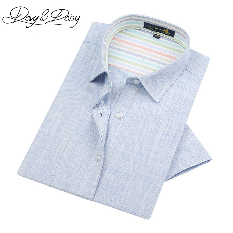 DAVYDAISY High Quality Mens Short Sleeve Shirts Summer Brand Casual Solid Comfortable Linen Shirt Men Clothes 4XL DS-194