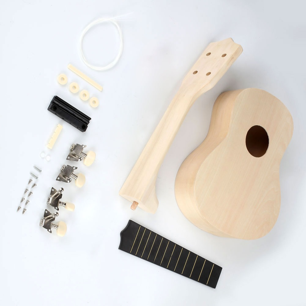 New 21inch Ukulele DIY Kit Hawaii Guitar Handwork Support Painting Mini Guitar Couple Gift Ukelele picks Children's Toy