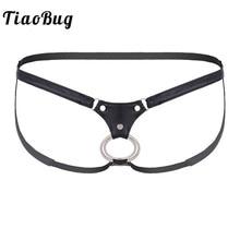 Mens Lingerie Bikini Underwear Jockstrap G-String Open-Back Low-Rise Black And Tiaobug