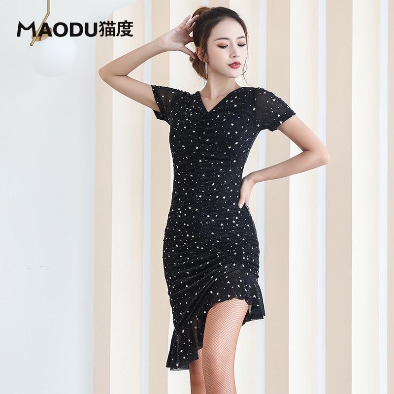 Fashion Sexy Short-sleeve Latin Dance Ruffle Slim one-piece dress for women/female,Ballroom tango Cha Cha Rumba Costumes MD9126