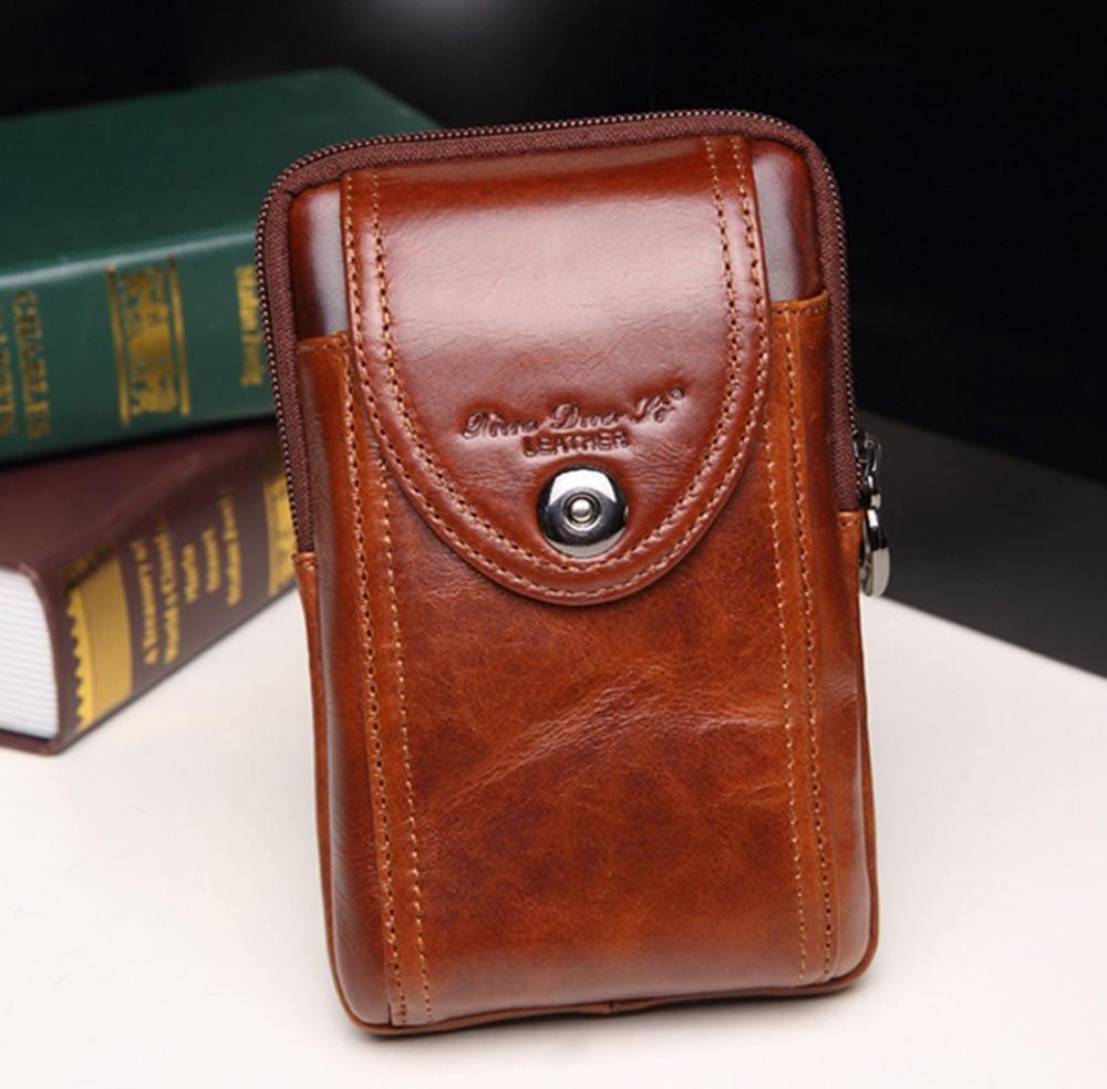 Cinto de Couro Pacote de Cintura do Vintage Real do Couro Case do Cigarro Homens Genuíno Bolsa Coin Purse Celular Mobile – Telefone Fanny Bolsas Hip Bum